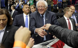 Democratic presidential candidate Sen. Bernie Sanders greets audience members at a campaign rally in Binghamton, New York. Photo by Brian Snyder/Reuters