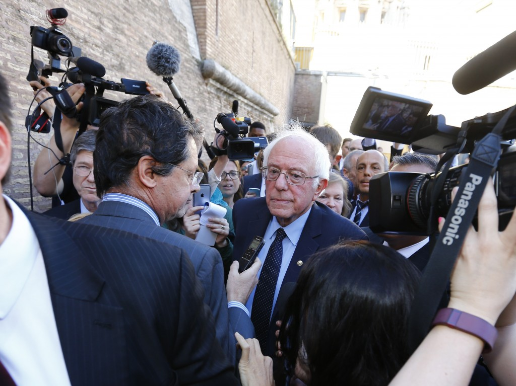 Democratic presidential candidate Bernie Sanders speaks with media and supporters during his visit to the Vatican. Photo by Stefano Rellandini/Reuters