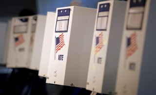 Voting booths are seen during the New York primary elections at a polling station in the Brooklyn borough of New York City, U.S., April 19, 2016.  REUTERS/Brendan McDermid - RTX2AO7S