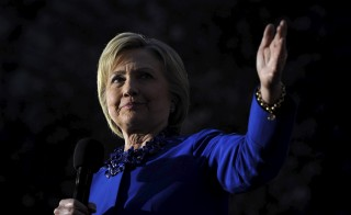 Democratic U.S. presidential candidate Hillary Clinton speaks during a campaign event in the courtyard of Philadelphia's City Hall on the eve of the Pennsylvania primary. Photo by Charles Mostoller/Reuters