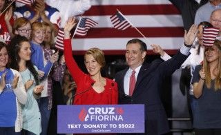 Republican U.S. presidential candidate Ted Cruz holds a campaign rally to announce Carly Fiorina as his running mate in Indianapolis, Indiana, United States April 27, 2016. REUTERS/Aaron Bernstein REUTERS/Aaron Bernstein - RTX2BYEV