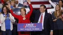 Republican U.S. presidential candidate Ted Cruz stands with Carly Fiorina after he announced Fiorina as his running mate at a campaign rally in Indianapolis, Indiana, United States April 27, 2016. REUTERS/Aaron P. Bernstein - TPX IMAGES OF THE DAY  - RTX2BYKI