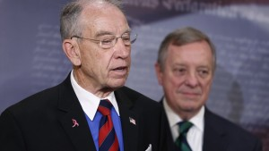 U.S. Senator Charles Grassley (R-IA) (L) and Senator Richard Durbin (D-IL) participate in a news conference about proposed criminal sentencing reform legislation at the U.S. Capitol in Washington, U.S., April 28, 2016. REUTERS/Jonathan Ernst - RTX2C3DR