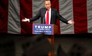 Republican U.S. presidential candidate Donald Trump speaks at a campaign rally in Costa Mesa, California, U.S., April 28, 2016. REUTERS/Lucy Nicholson - RTX2C4TE