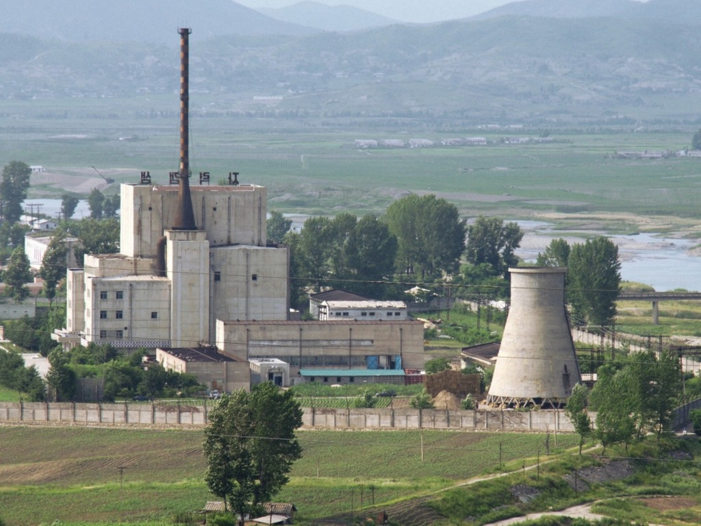 A North Korean nuclear plant in Yongbyon is pictured in 2008 before a cooling tower on the right was demolished. Photo by Kyodo via Reuters