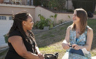 Transgender canvasser Nancy Williams speaks to a voter in Los Angeles. Photo by Jeffrey Fountain/Los Angeles LGBT Center
