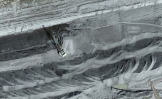 A dragline works at Peabody Energy's North Antelope Rochelle mine in Wyoming's Powder River Basin. Image courtesy of Google Earth