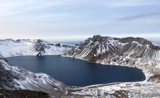 Lake Chon - or Heaven Lake -- sits in a volcanic crater (caldera) created by the Mt. Paektu millennium eruption. Photo by James Hammond