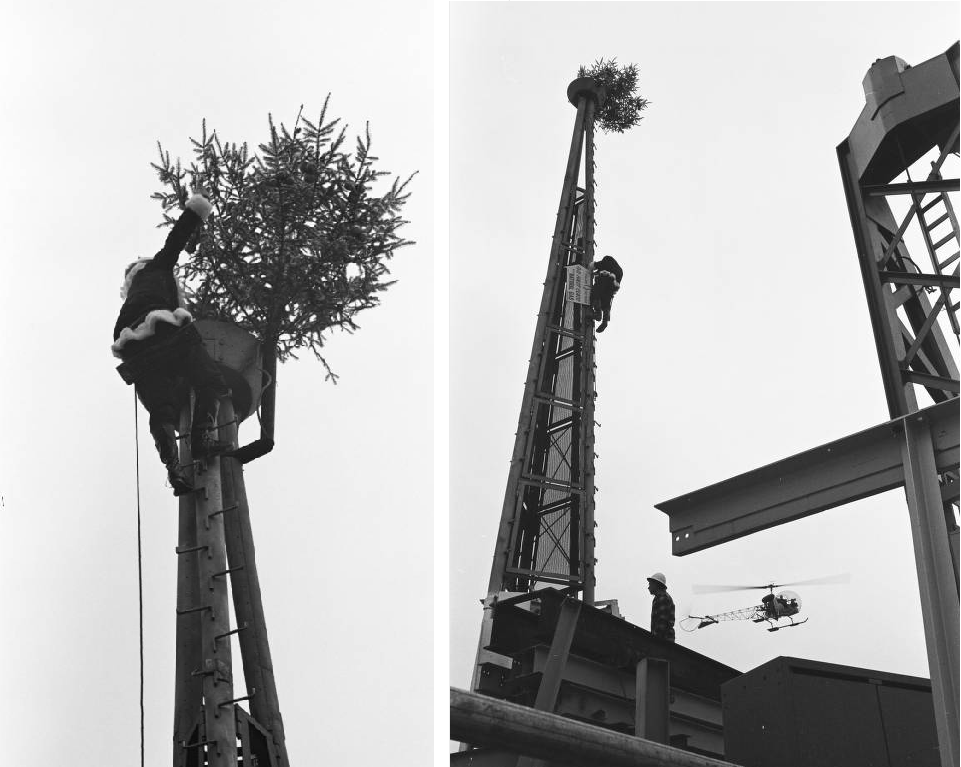 Photographer George Gulacsik took this image of balloons floating above the Space Needle, mid-construction, in July 1961, only a few months after workers began building the structure. Gulacsik's images are now online through the Seattle Public Library.