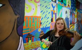 Rachel Barton Pine plays violin. Photo by Matt Ehrichs and Jordan Vesey