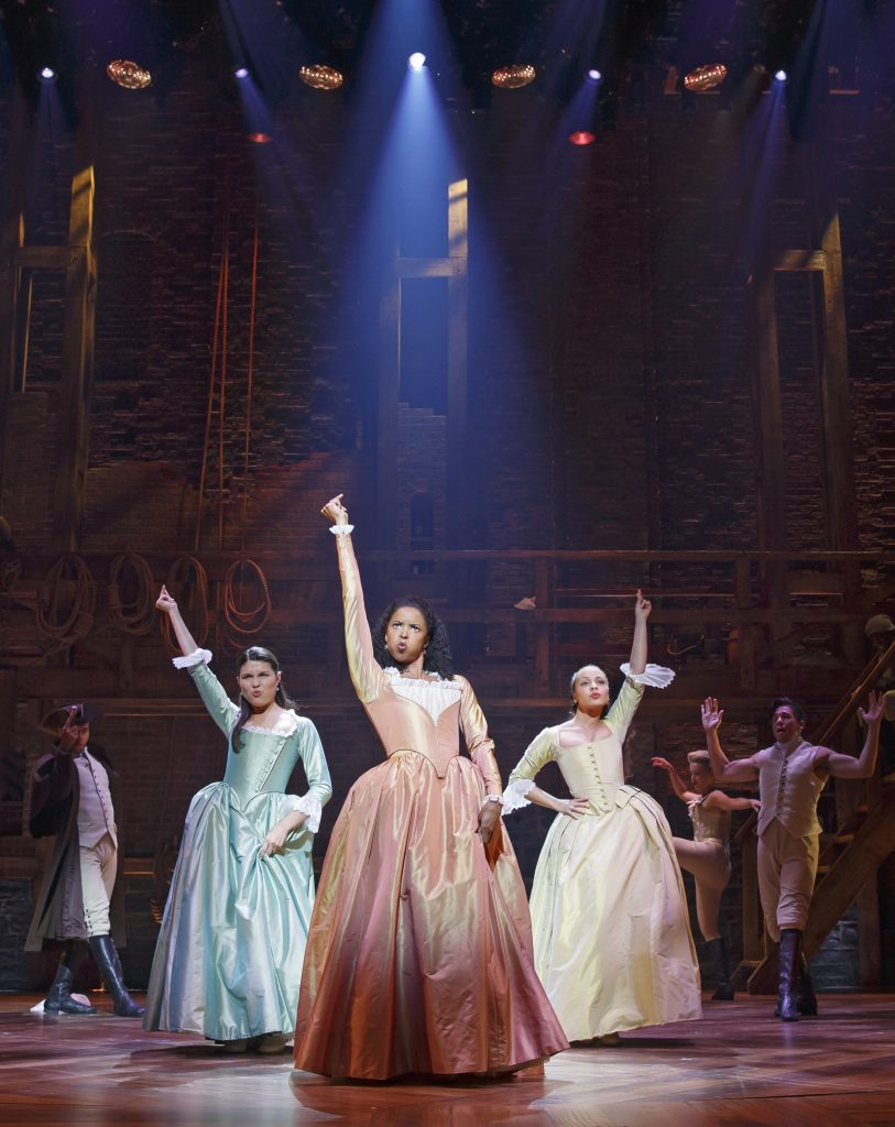 """Hamilton"" cast members perform at Richard Rodgers Theatre on April 13, 2016. Photo By Joan Marcus"