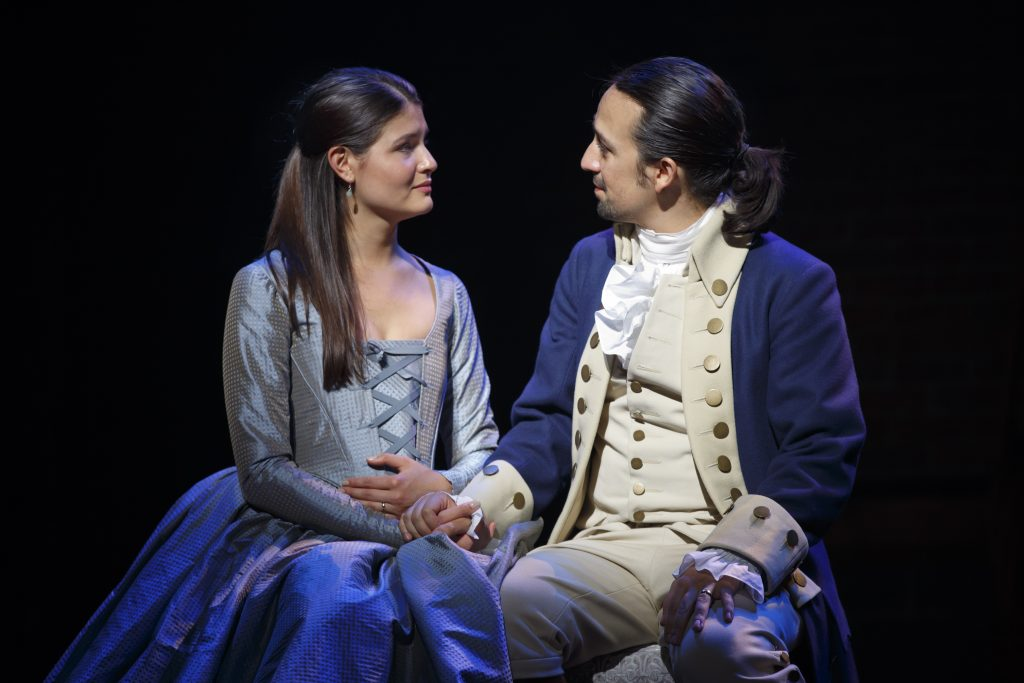 "Lin-Manuel Miranda performs on stage during ""Hamilton"" with actress Phillipa Soo. Photo By Joan Marcus"