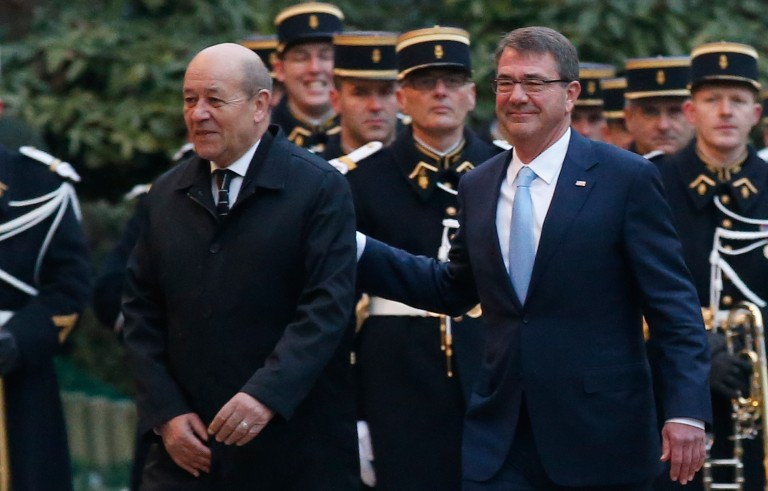 French Defense Minister Jean-Yves Le Drian (left) and U.S. Secretary of Defense Ashton Carter are pictured before a meeting of the coalition against ISIS in January. Photo by Jacky Naegelen/Reuters