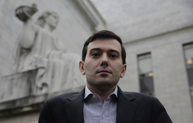 """Martin Shkreli, former CEO of Turing Pharmaceuticals LLC, departs the U.S. Capitol after appearing before a House Oversight and Government Reform hearing on """"Developments in the Prescription Drug Market Oversight"""" on Capitol Hill in Washington February 4, 2016. Shkreli invoked his Fifth Amendment right against self-incrimination and declined to answer questions on Thursday from U.S. lawmakers interested in why the company raised the price of a lifesaving medicine by 5,000 percent. REUTERS/Joshua Roberts - RTX25HKC"""