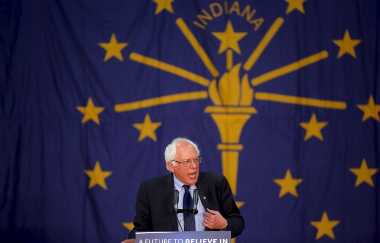 Democratic presidential candidate Bernie Sanders (I-VT) speaks at a campaign event at Purdue University in West Lafayette, Indiana. Photo by Aaron P. Bernstein/Reuters