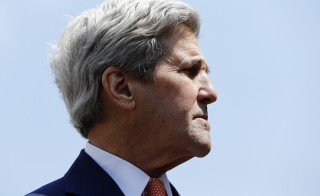 Secretary of State John Kerry attends a news conference in Geneva Monday. Photo by Denis Balibouse/Reuters