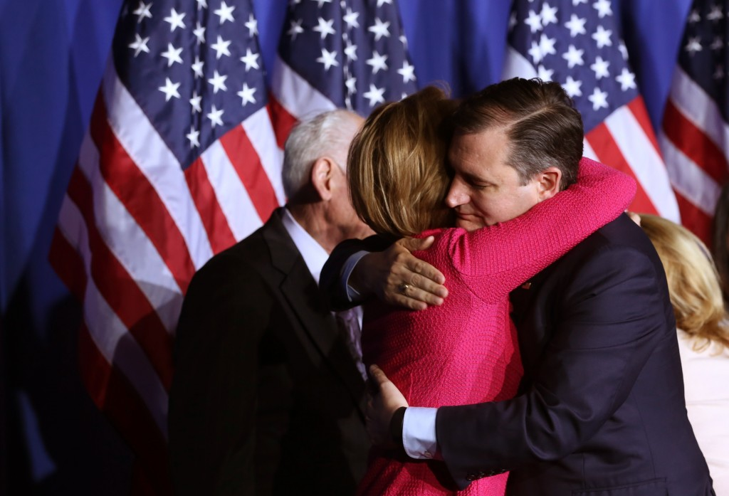 Republican U.S. presidential candidate Ted Cruz hugs running-mate Carly Fiorina just before announcing that he is suspending his campaign for president at a campaign event during Indiana primary night in Indianapolis on May 3. Photo by Chris Bergin/ Reuters