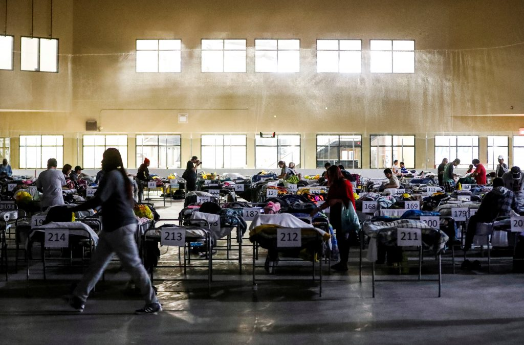 """Evacuees from the Fort McMurray wildfires use the sleeping room at the """"Bold Center"""" in Lac la Biche, Alberta, Canada, May 5, 2016. REUTERS/Mark Blinch - RTX2CZZV"""