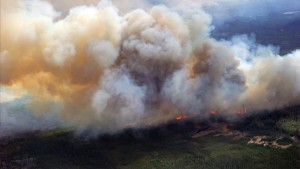 A Canadian Joint Operations Command aerial photo shows wildfires in Fort McMurray, Alberta, Canada in this image posted on twitter May 5, 2016. Courtesy CF Operations/Handout via REUTERS  ATTENTION EDITORS - THIS IMAGE WAS PROVIDED BY A THIRD PARTY. EDITORIAL USE ONLY - RTX2D0AI
