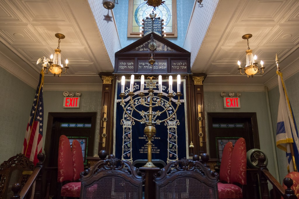 The interior of the Kehila Kedosha Janina, the only Greek Synagogue in the Western Hemisphere, is photographed in New York City on May 1, 2016.