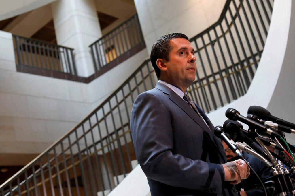 House Permanent Select Committee on Intelligence Chairman Devin Nunes (R-CA) speaks to the media Mar. 7 about President Donald Trump's allegation that his campaign was the target of wiretaps on Capitol Hill in Washington. Photo by REUTERS/Aaron P. Bernstein.