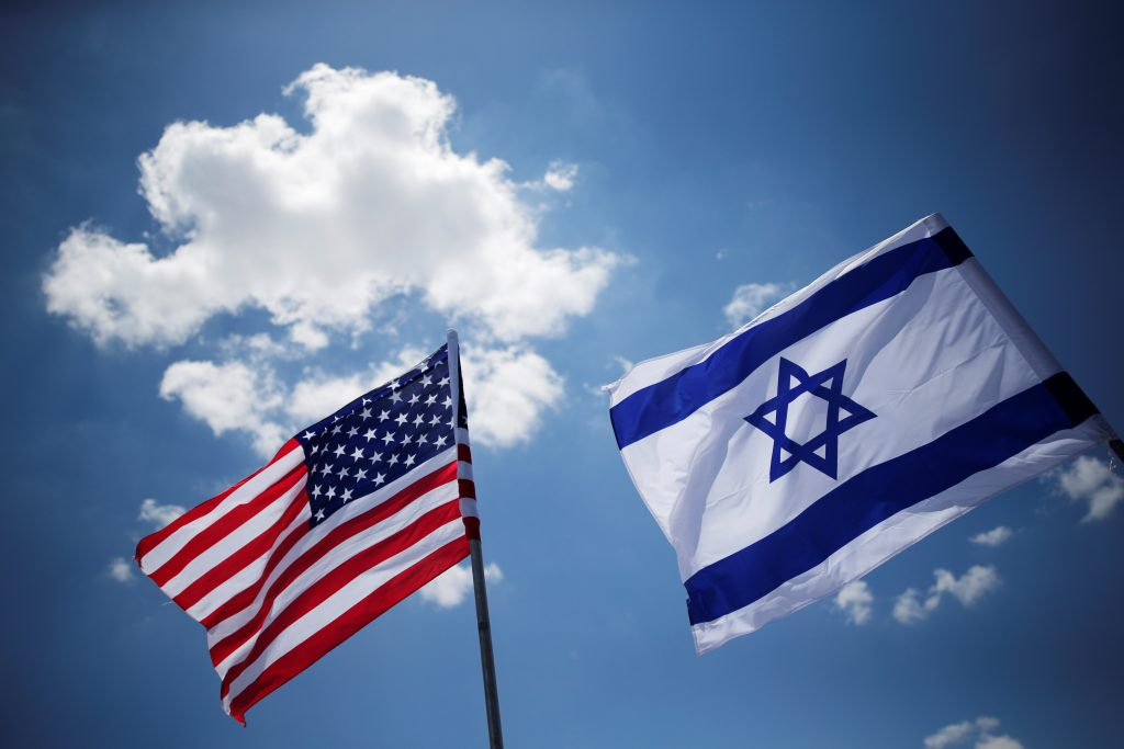 American and Israeli flags are seen during a dress rehearsal of the arrival ceremony which will be held to welcome U.S. President Donald Trump upon his arrival, at Ben Gurion International Airport in Lod
