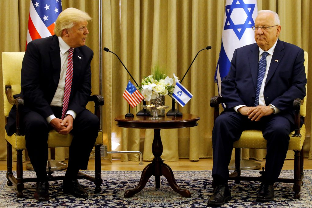 President Donald Trump (L) sits next to Israeli President Reuven Rivlin during their meeting in Jerusalem. Photo by Jonathan Ernst/Reuters