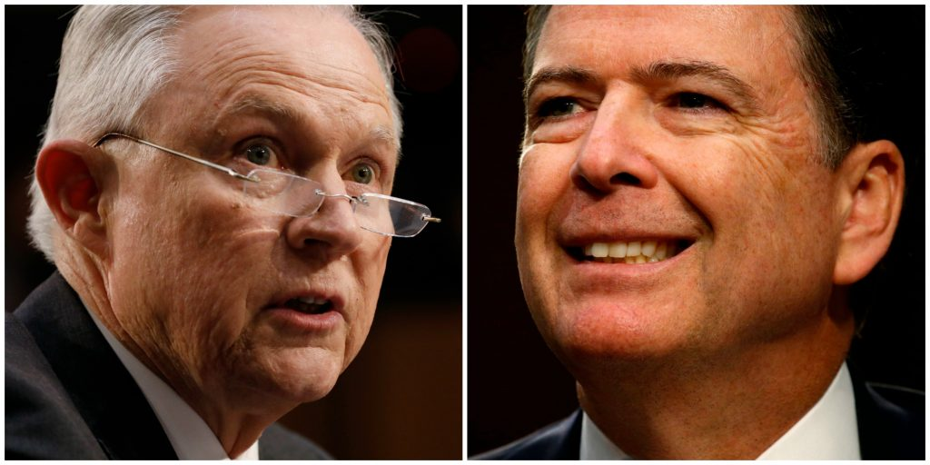 Attorney General Jeff Sessions, left, said he had concerns about former FBI director James Comey, right, long before Comey's firing. Photos by Reuters.