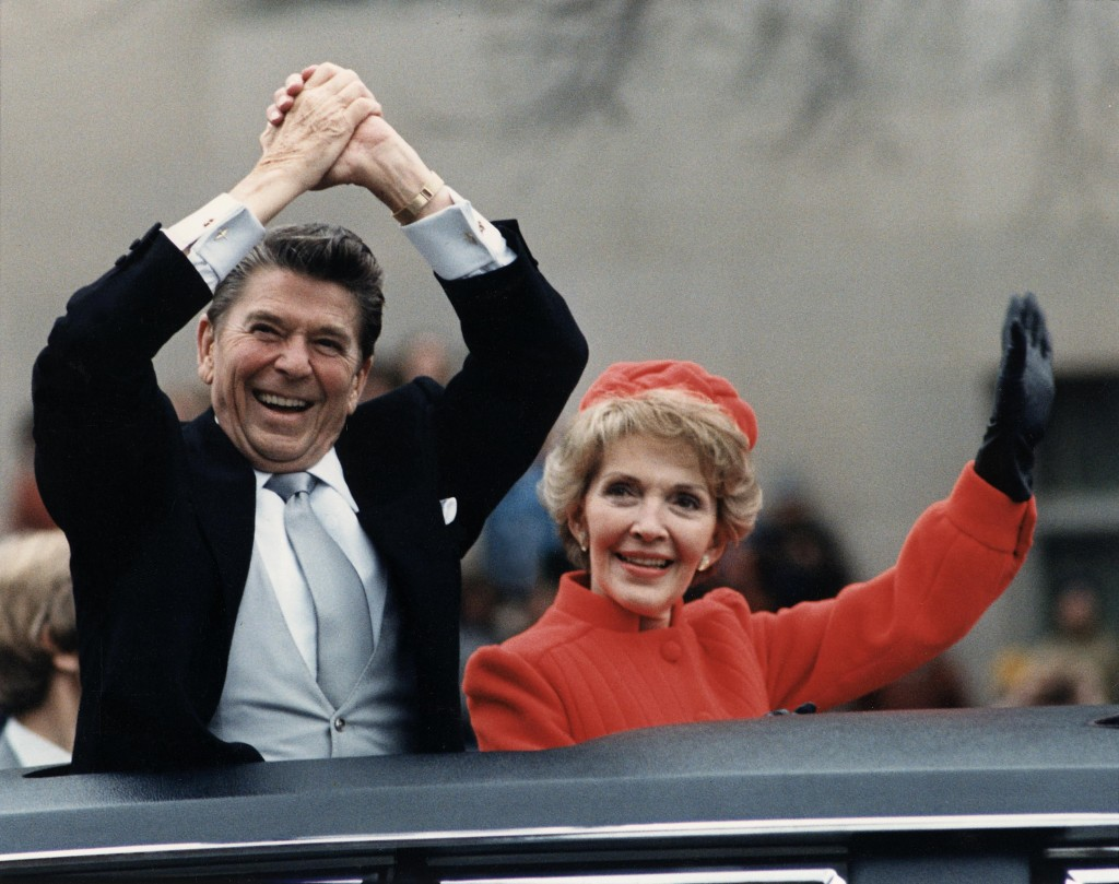 President Reagan and Nancy Reagan during the Inaugural Parade on Jan. 20, 1981. Reagan Presidential Library