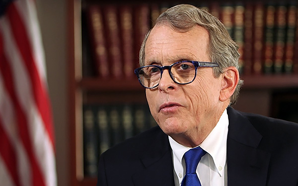 Mike DeWine speaking into the camera