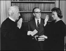 O'Connor is sworn in as an associate justice on the Supreme Court in 1981.