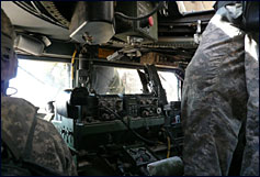 Inside the humvee. Photo Credit: Margaret Warner