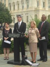Left to Right: Vicki Shabo, Vice President of the National Partnership for Women and Familes; Michael Kaufman, Senior Fellow of Promundo; Rep. Carolyn B. Maloney (D-NY); and Joseph T. Jones, Founder of the Center for Urban Families