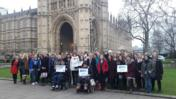 Women's Equality Party in Front of Parliament. photo courtesy of Michelle Blakenship PR
