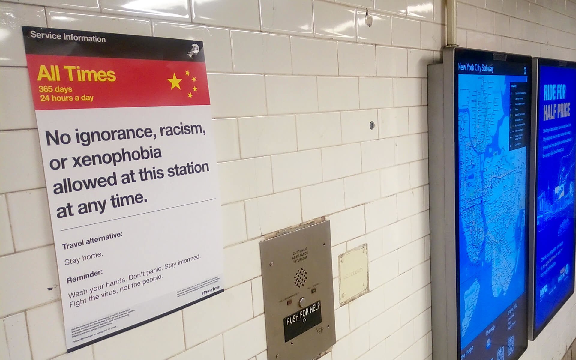 NYC, anti-xenophobia poster amid coronavirus pandemic, Canal St, 6 Line.
