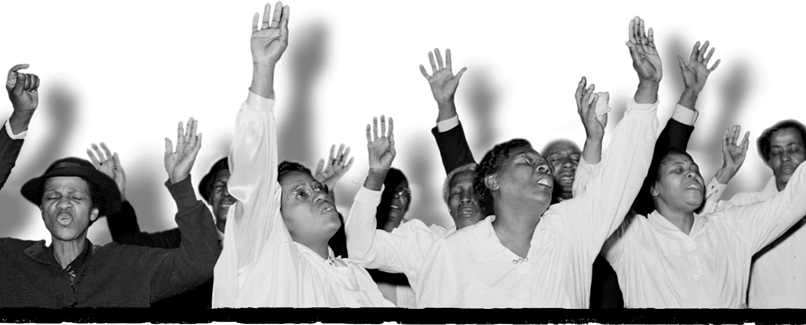 People worshiping at a church service