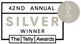 42nd Telly Winners silver winner badge