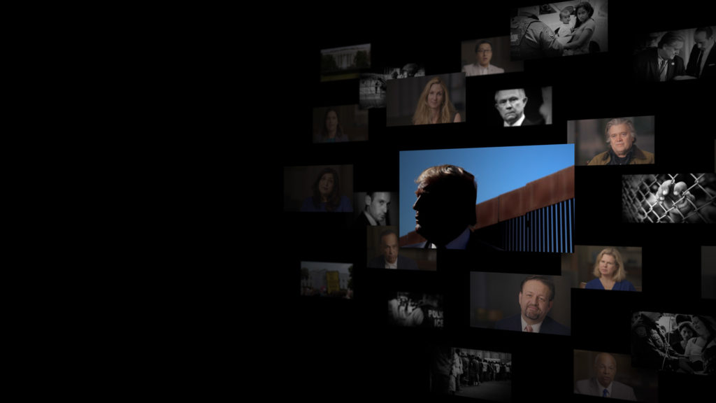 A composite graphic of FRONTLINE interview subjects and images from the film Zero Tolerance.