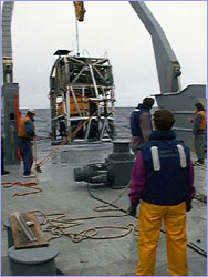 Thompson crew helps launch ROPOS from fantail.