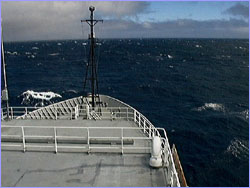 The Thompson heads into 30-knot winds.