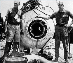 Beebe and Barton with the bathysphere