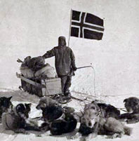 Amundsen with dogs