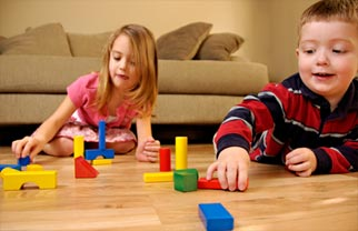 children with blocks