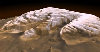 three-dimensional visualization of the martian north pole