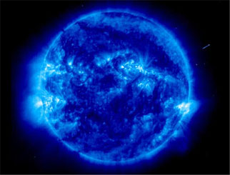 An ultraviolet image of the sun's corona, or