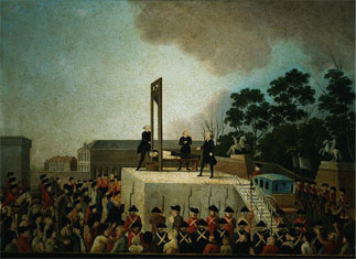 A painting of the execution of Louis XVI.