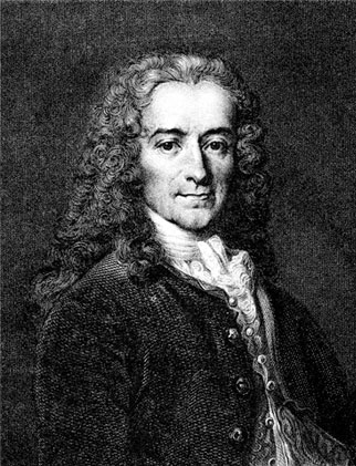 A portrait of Voltaire.