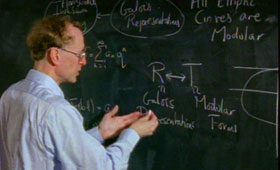 Andrew Wiles at blackboard