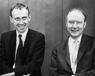 Watson and Crick in black and white