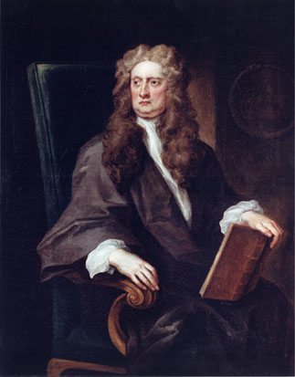 A painting of Newton, sitting in a chair with a book on his lap